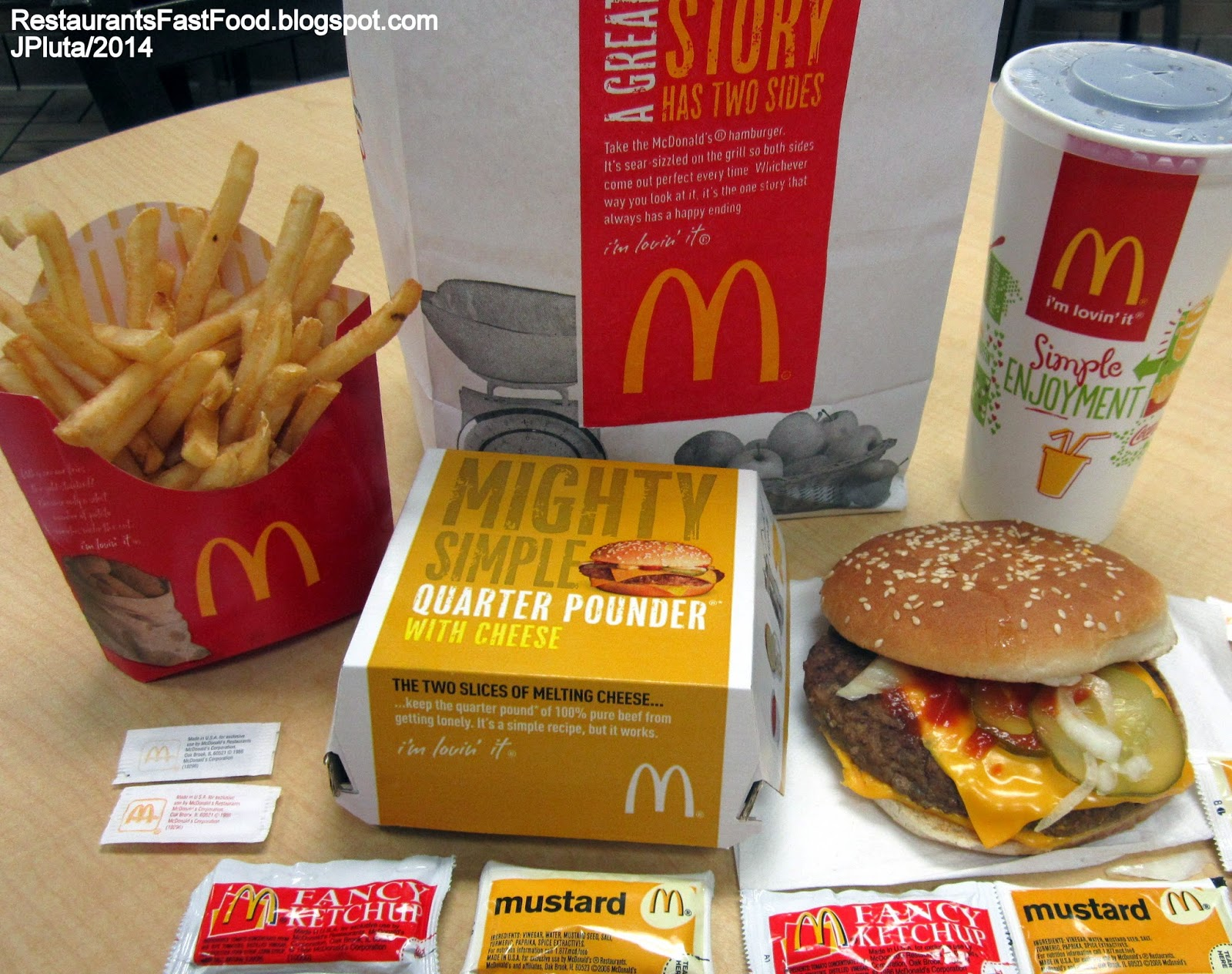 mcdonald's quarter pounder with cheese hamburger french fries coca
